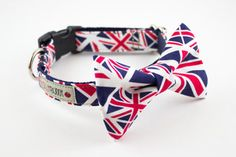 Union Jack Dog Bowtie Collar by Silly Buddy - eclectic - pet accessories - by Etsy