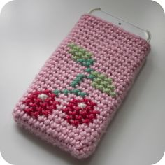 crochet and sewing - Pink Milk: Cherry On Top - A Crochet Phone Cosy with pattern in cross-stitch - cute - or you could just crochet the pattern on... - includes lovely clear tutorial on working both sides of starting chain to form oval base