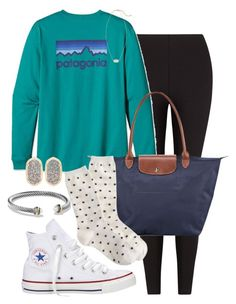 """""""Senioritis at its Finest"""" by pretty-and-preppy ❤ liked on Polyvore featuring Lyssé Leggings, Patagonia, Converse, Longchamp, David Yurman and Kendra Scott"""