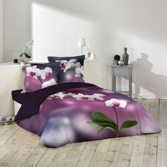 Housse de couette Orchideis 240x260cm avec taies d'oreillers 100% coton