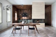 Herringbone wooden wall ktchen
