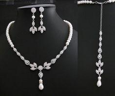 Bridal Backdrop Necklace Cubic Zirconia and Pearl Necklace Wedding Crystal Back Drop Necklace Bridal Back Necklace
