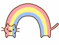 The rainbow cat Art Drawings For Kids, Easy Drawings, Cute Images, Cute Pictures, Purple Books, Best Freinds, Simple Character, Kids Graphics, How To Make Scrapbook