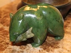 "Alaskan Jade Bear 5"" long X 3.5"" high"