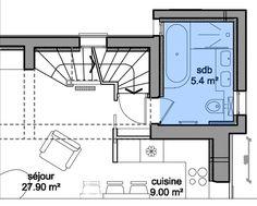 Plan d'une salle de bains familiale de 5,4 m² avec baignoire et douche