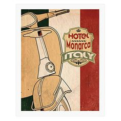 Bring a little bit of Italy into your décor with the buyartforless Hotel Monarca Italy Vespa Framed Wall Art . This colorful print arrives mounted. Framed Wall Art, Wall Art Prints, Custom Metal Signs, Italy Art, Frames For Canvas Paintings, Affordable Wall Art, Cool Posters, Vespa, Custom Framing
