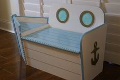Toy Chest, Wooden Toy Box, Boat Shaped Wood Toy Chest, Painted Blue And White…