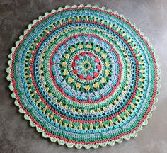 A colorful handmade crocheted rug made of tshirt by AnatisRugs, ₪1550.00