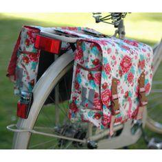 Sacoche de vélo double  2 x 18L blanche à fleurs Bloom - Basil