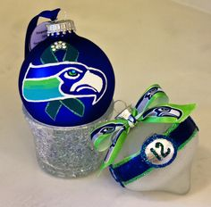 https://flic.kr/p/qABuYf | 12th Hawk cropped | More hand painted collectible ornaments inspired by the 2015 Seattle Seahawks.