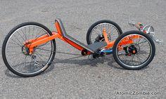 This tadpole trike is built for speed. Trike Scooter, Tricycle Bike, Trike Bicycle, Recumbent Bicycle, Cargo Bike, Motorized Bicycle, Lowrider, Motorized Big Wheel, Bike Wagon