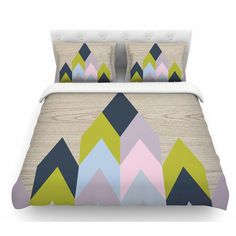 East Urban Home Woodgrain by Suzanne Carter Geometric Featherweight Duvet Cover Size: Queen