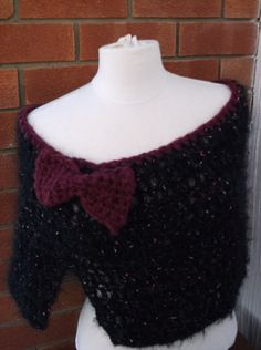 Crochet poncho in mohair mix yarn with large by simonefrancis, $25.00