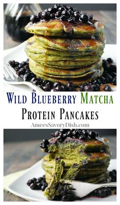 Wild Blueberry Matcha Protein Pancakes recipe