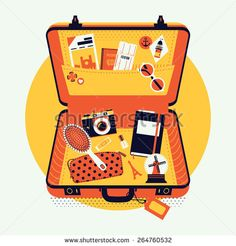 Beautiful vector illustration on luggage suitcase with travel items inside…