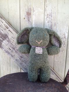 Hand Knit Green Bunny Rabbit Icelandic Lopi Wool by TinMajaTradeCo, $42.00