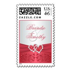Coral Pink and Gray Floral Hearts Wedding Postage