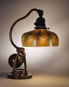 Balanced lamp, c. 1902. Shade No. S207, Shell design, dome shape; Standard No. 416, Claflin design; blown glass, bronze; Tiffany Studios, New York, 1902–32; H. 15 1/2 x Diam. 6 3/4 in. (66-028).