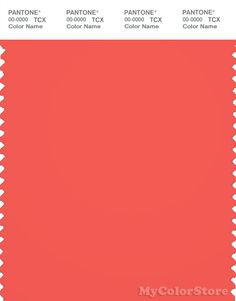 PANTONE SMART 17-1656 TCX Color Swatch Card   Pantone Hot Coral   The Source for Fashion Magazines, Fashion Books, Color & Trend Forecasts and Pantone