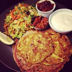 Indian chickpea pancakes with pickle and cabbage salad by Monica Shaw. Badass.