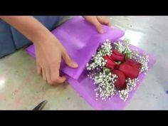 Making Flower Bouquet | Small posy of 5 red roses handbouquet Singapore Florist - YouTube