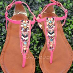 RESTOCKED!!!! Indian Hills Coral Beaded Sandals | Amazing Lace
