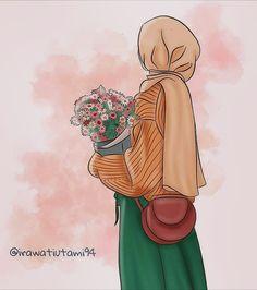 Cartoon Girl Images, Cute Cartoon Girl, Cute Cartoon Wallpapers, Dark Phone Wallpapers, Girl Holding Balloons, Hijab Drawing, Islamic Cartoon, Anime Muslim, Hijab Cartoon