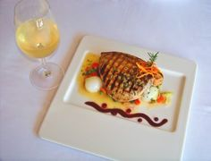 Grilled swordfish in Punta Morro Restaurant, Ensenada, Baja California.