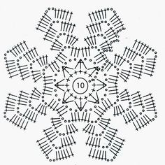 Estrella, crochet - Her Crochet Crochet Squares, Free Crochet Doily Patterns, Crochet Snowflake Pattern, Crochet Circles, Crochet Motifs, Crochet Snowflakes, Crochet Diagram, Crochet Chart, Thread Crochet