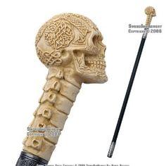 Skull walking stick - love the pseudo celtic designs