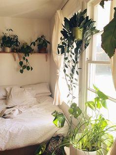 architecture home interior design bedroom sleeping nook reading white plants windows romantic bohemian