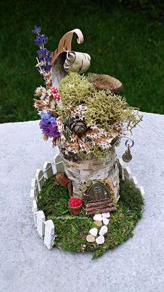 TINY Fairy Garden White Birch Pixie House - Miniature Fairy Garden Cottage Home