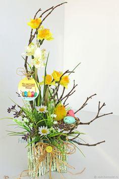 Easter Flower Arrangements, Modern Floral Arrangements, Flower Arrangement Designs, Easter Flowers, Easter Tree, Easter Wreaths, Spring Flowers, Diwali Craft, Spring Crafts