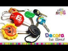 Decorate your keys with Polymer clay / Decora tus llaves con Arcilla Pol. Polymer Clay Projects, Polymer Clay Charms, Polymer Clay Creations, Polymer Clay Art, Polymer Clay Jewelry, Clay Crafts, Clay Keychain, Clay Videos, Play Clay