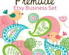 Etsy Banner Set - Premade Etsy Shop Set - Etsy Shop Banner, Avatar,  Business Card and More - Birds and Colorful Paisley