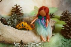 The fairy and the caterpillar  fairy tale  felted by byNaturechild, $75.00
