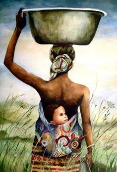 Babywearing art by Claudia Tremblay - mother and child in field art print Mother Art, Mother And Child, African American Art, African Art, Art And Illustration, Black Women Art, Black Art, Art Women, Illustrator Design