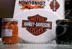 Calco vitrificable del logo de Harley-Davidson a dos colores.