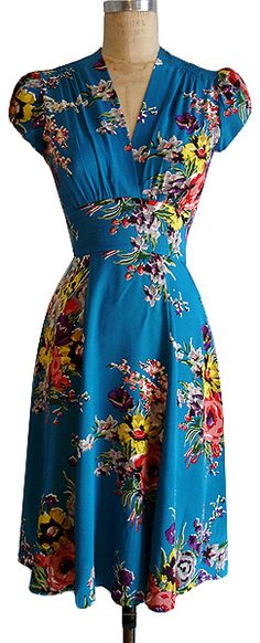 40s style floral dress