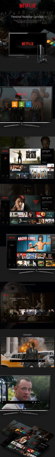Netflix Concept (personal project) on Behance Web Design, App Ui Design, User Interface Design, Graphic Design, Netflix, Secret Boards, Tv App, Digital Tv, Interactive Design