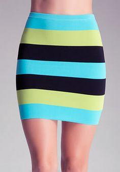 bebe Color Stripe Skirt