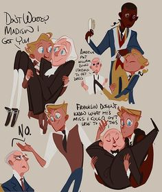 I have a head cannon that Alfred has a bit of a obsession with carrying people around especially bridal style and jumps at any chance to do so. And I had the need to doddle it. Also the guy at the top right is William Lee Washington's slave. He hardly ever left Washington's sided during the Revolution War and was the only one that GW granted freedom after his death. sully-s