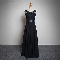 Elegant Black 2016 Long chiffon prom dress Floor-Length