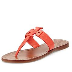 Tory Burch Moore Flat Thong Sandal Poppy Coral Elba Tumbled Leather Size 55    Learn more by visiting the image link. Brenda Gardner · Sandals etc 0050d05cdc30