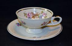 Vintage Footed Tea Cup & Saucer Set Porcelain ~ Pink Rose ~ Gold Trim #62 #PinkRose
