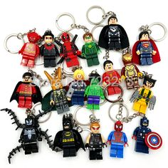 Super Hero Figure keychain Single sale Marvel DC Batman spider man Captain America Building Blocks Hulk Captain America #Affiliate