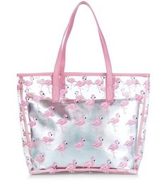 Pink Flamingo Print Clear Beach Bag | New Look