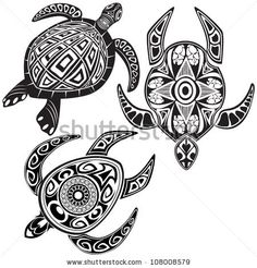 Vector illustration of turtles in maori tattoo style - stock vector