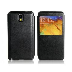 Large Front Display Leather Black Samsung Galaxy Note 3 Case