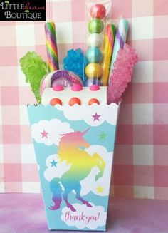 Rainbow Unicorn treat box,Unicorn Popcorn Box,Birthday Party, Personalized favor Box,Unicorn Favor boxes,Unicorn party favors,Treat box by LittlebeaneBoutique on Etsy https://www.etsy.com/listing/504768928/rainbow-unicorn-treat-boxunicorn-popcorn